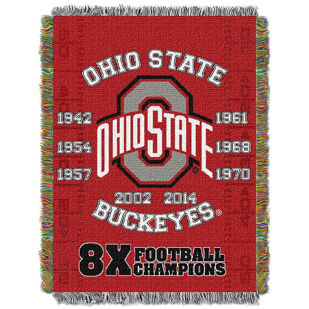Ohio State Buckeyes NCAA Woven Tapestry Throw (Home Field Advantage) (48x60) - 2