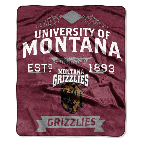 Montana Grizzlies NCAA Royal Plush Raschel Blanket (Label Series) (50x60)