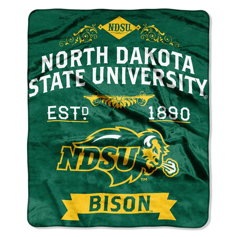 North Dakota State Bison NCAA Royal Plush Raschel Blanket (Label Series) (50x60)