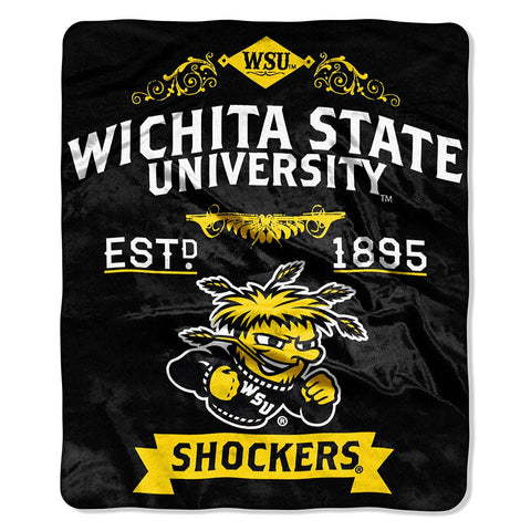 Wichita State Shockers NCAA Royal Plush Raschel Blanket (Label Series) (50x60)