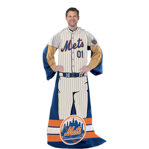 New York Mets MLB Adult Uniform Comfy Throw Blanket w- Sleeves