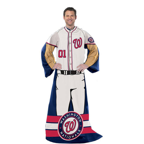 Washington Nationals MLB Adult Uniform Comfy Throw Blanket w- Sleeves