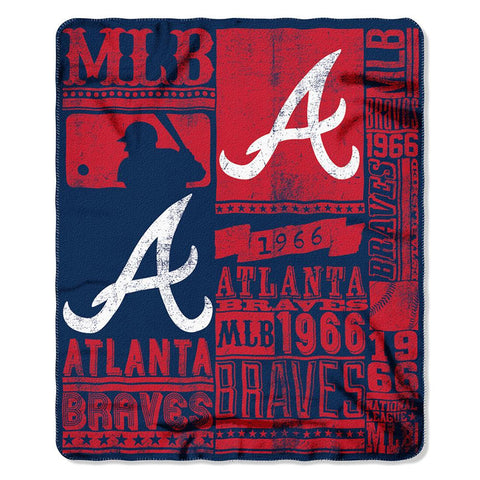 Atlanta Braves MLB Light Weight Fleece Blanket (Strength Series) (50inx60in)