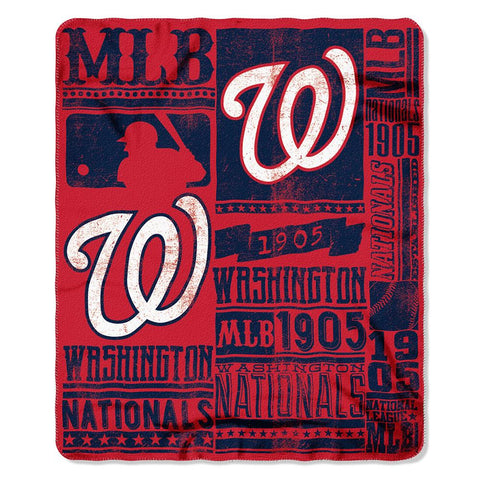 Washington Nationals MLB Light Weight Fleece Blanket (Strength Series) (50inx60in)