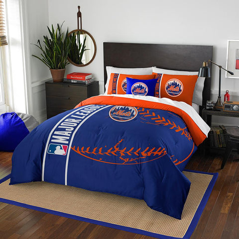 New York Mets MLB Full Comforter Set (Soft & Cozy) (76 x 86)