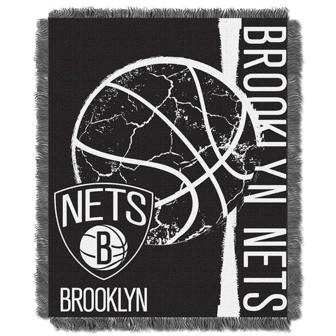 Brooklyn Nets NBA Triple Woven Jacquard Throw (Double Play Series) (48x60)