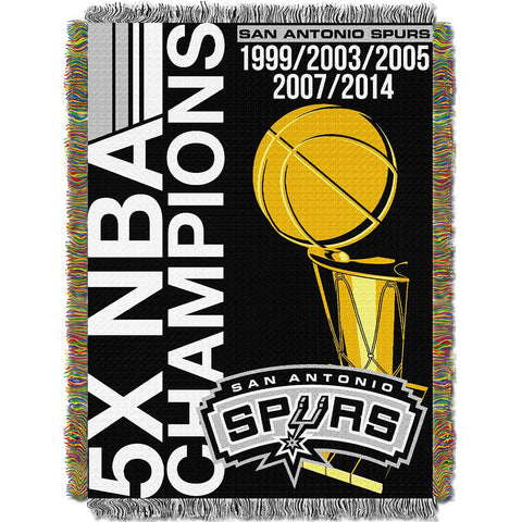 San Antonio Spurs NBA Championship 5x Commemorative Woven Tapestry Throw (48x60)