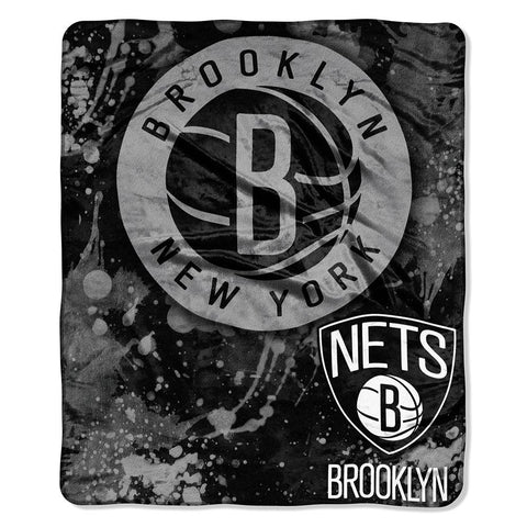 Brooklyn Nets NBA Royal Plush Raschel Blanket (Drop Down Series) (50x60)