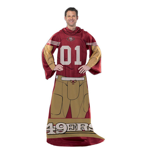 San Francisco 49ers NFL Uniform Comfy Throw Blanket w- Sleeves