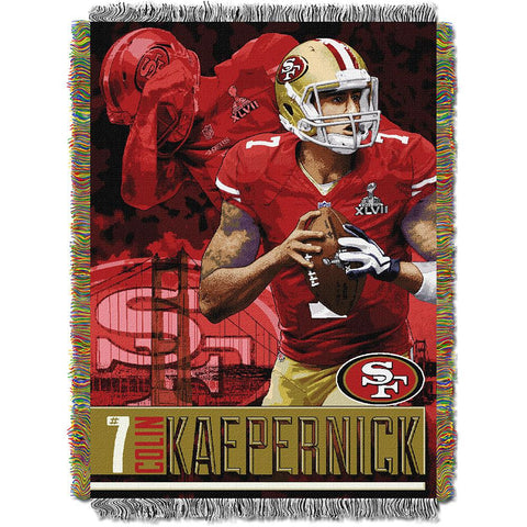 Colin Kaepernick #7 San Francisco 49ers NFL Woven Tapestry Throw Blanket (48inx60in)