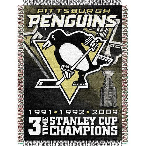 Pittsburgh Penguins NHL 3X Champs Commemorative Woven Tapestry Throw (48x60)