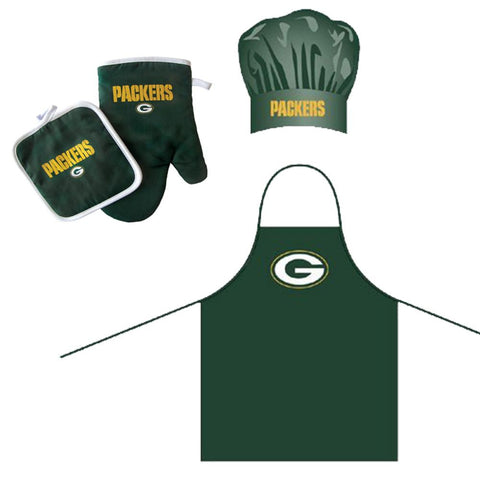 """Green Bay Packers NFL Barbeque Apron , Chef's Hat and Pot Holder Deluxe Set"""