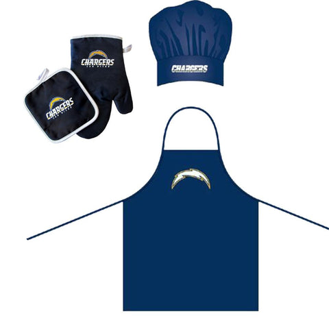 San Diego Chargers NFL Barbeque Apron, Chef's Hat and Pot Holder Deluxe Set