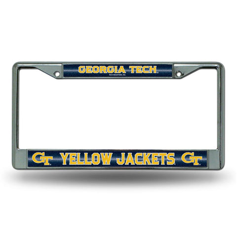 Georgia Tech Yellowjackets NCAA Bling Glitter Chrome License Plate Frame