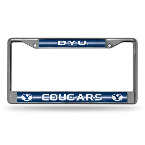 Brigham Young Cougars NCAA Bling Glitter Chrome License Plate Frame