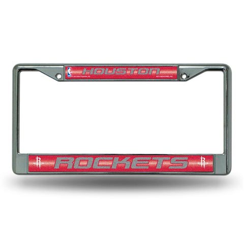 Houston Rockets NBA Bling Glitter Chrome License Plate Frame