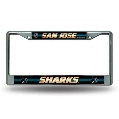 San Jose Sharks NHL Bling Glitter Chrome License Plate Frame