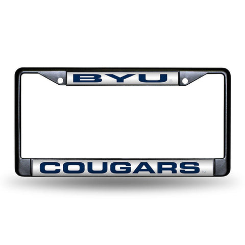 Brigham Young Cougars NCAA Black Chrome Laser Cut License Plate Frame