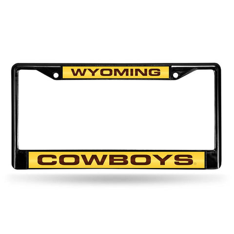 Wyoming Cowboys NCAA Laser Cut Black License Plate Frame