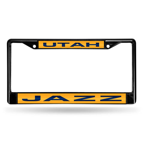 Utah Jazz NBA Black Chrome Laser Cut License Plate Frame