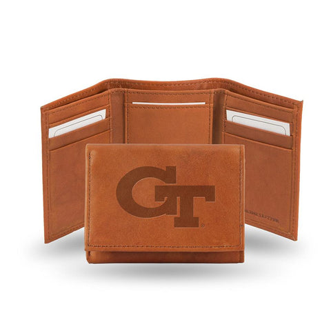 Georgia Tech Yellowjackets  Tri-Fold Wallet (Pecan Cowhide)