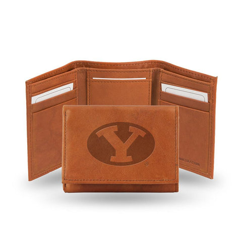 Brigham Young Cougars  Tri-Fold Wallet (Pecan Cowhide)