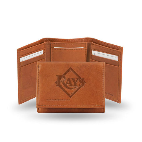 Tampa Bay Rays  Tri-Fold Wallet (Pecan Cowhide)