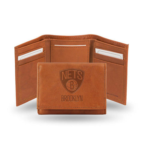 Brooklyn Nets  Tri-Fold Wallet (Pecan Cowhide)