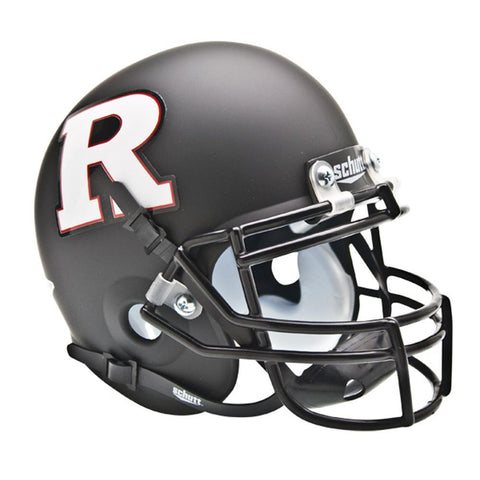 Rutgers Scarlet Knights NCAA Authentic Mini 1-4 Size Helmet (Alternate Black w- White R 3)