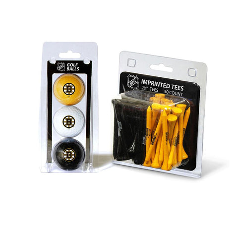 Boston Bruins NHL 3 Ball Pack and 50 Tee Pack