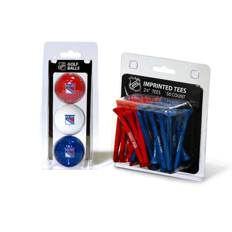New York Rangers NHL 3 Ball Pack and 50 Tee Pack