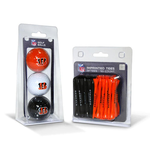 Cincinnati Bengals NFL 3 Ball Pack and 50 Tee Pack
