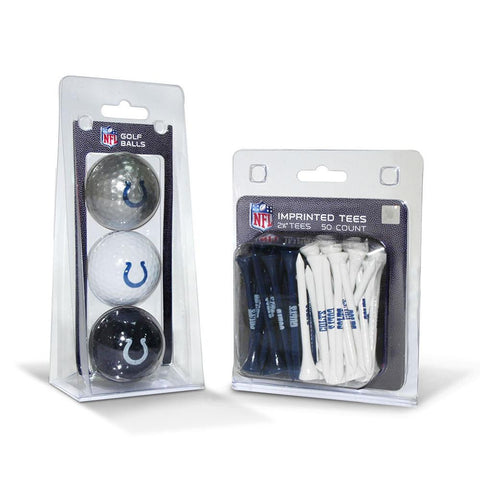 Indianapolis Colts NFL 3 Ball Pack and 50 Tee Pack