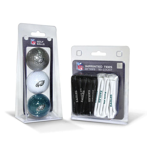 Philadelphia Eagles NFL 3 Ball Pack and 50 Tee Pack