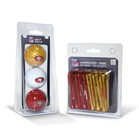 San Francisco 49ers NFL 3 Ball Pack and 50 Tee Pack