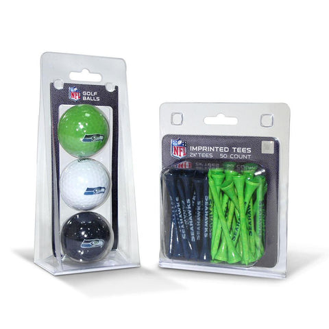 Seattle Seahawks NFL 3 Ball Pack and 50 Tee Pack