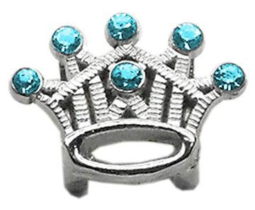 "3-8"" Slider Crystal Crown Charm Turquoise"