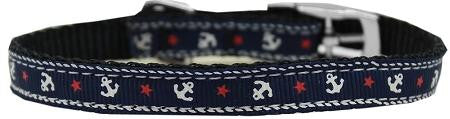 "Anchors Nylon Dog Collar with classic buckle 3-8"" Blue Size 16"