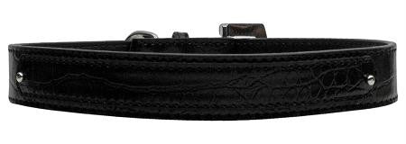 18mm  Two Tier Faux Croc Collar Black Large