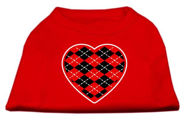 Argyle Heart Red Screen Print Shirt Red Med (12)