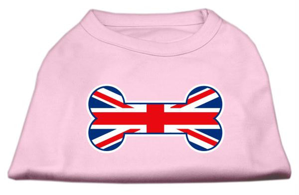 Bone Shaped United Kingdom (Union Jack) Flag Screen Print Shirts Light Pink S (10)