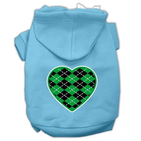 Argyle Heart Green Screen Print Pet Hoodies Baby Blue Size Med (12)