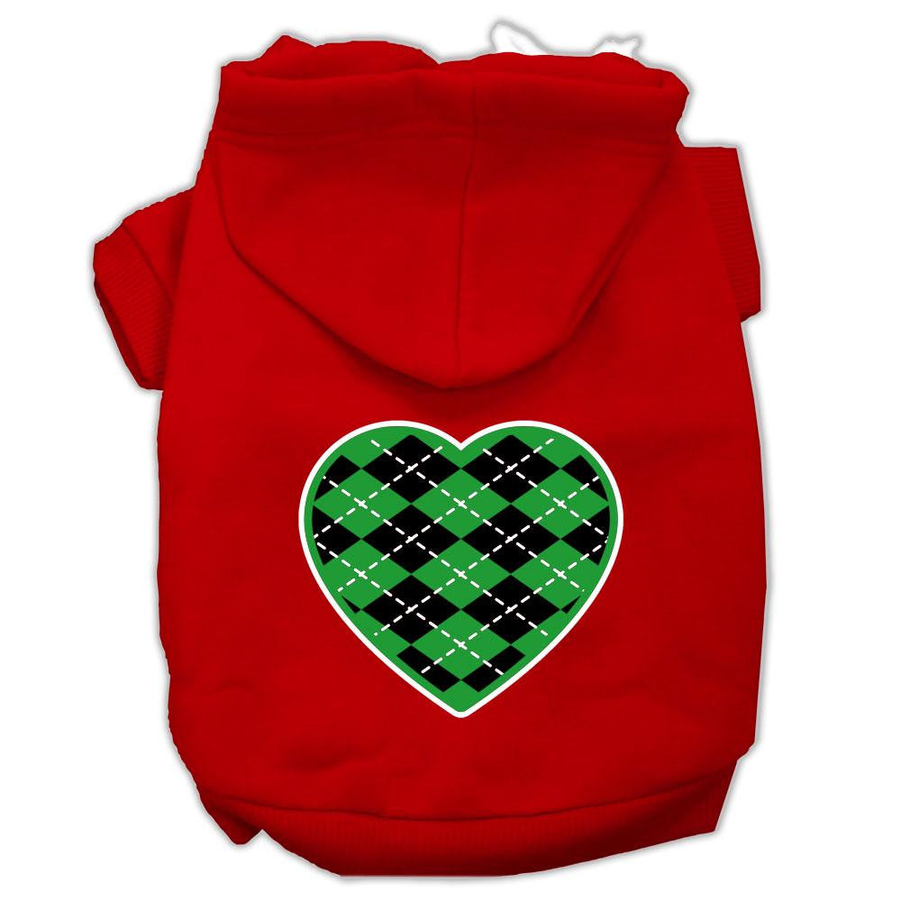 Argyle Heart Green Screen Print Pet Hoodies Red Size Sm (10)