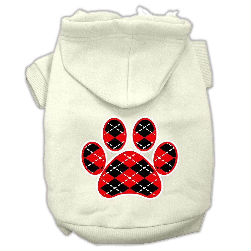 Argyle Paw Red Screen Print Pet Hoodies Cream Size S (10)