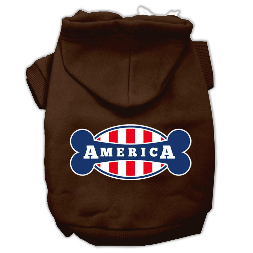 Bonely in America Screen Print Pet Hoodies Brown Size XXXL (20)