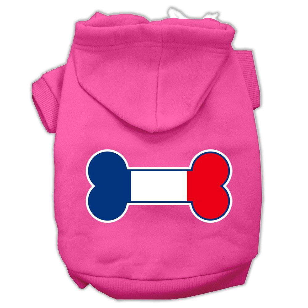 Bone Shaped France Flag Screen Print Pet Hoodies Bright Pink Size XL (16)