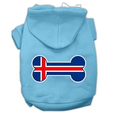 Bone Shaped Iceland Flag Screen Print Pet Hoodies Baby Blue L (14)