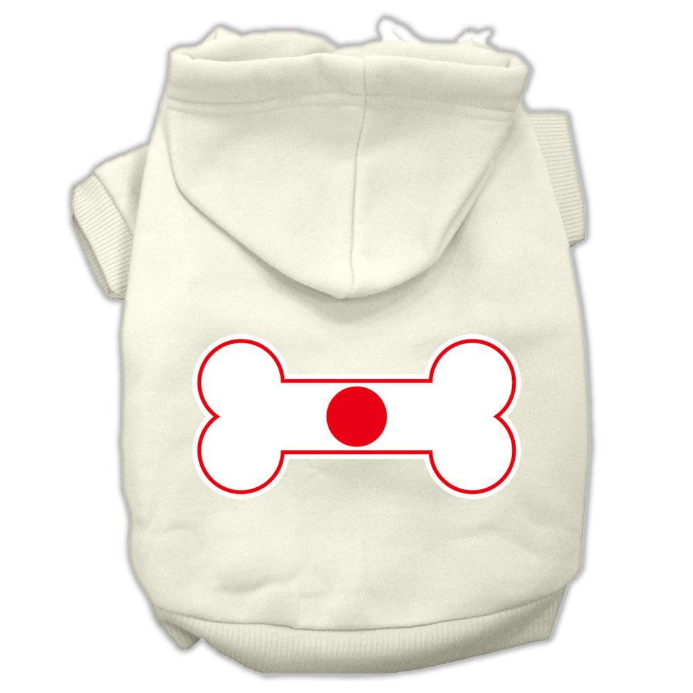 Bone Shaped Japan Flag Screen Print Pet Hoodies Cream Size XXL (18)