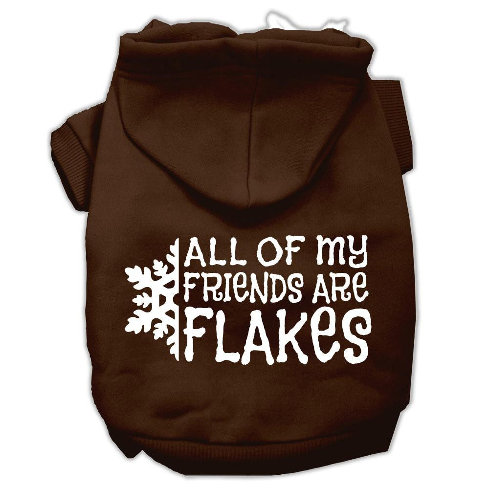 All my friends are Flakes Screen Print Pet Hoodies Brown Size L (14)