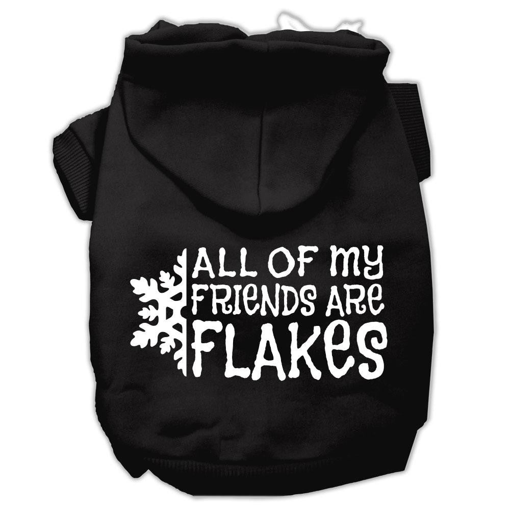 All my friends are Flakes Screen Print Pet Hoodies Black Size XXL (18)